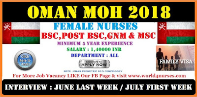 DIRECT OMAN MOH FOR STAFF NURSES 2018 - APPLY NOW