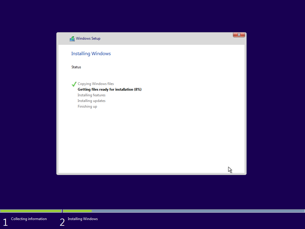 Gambar proses installasi windows10 berjalan