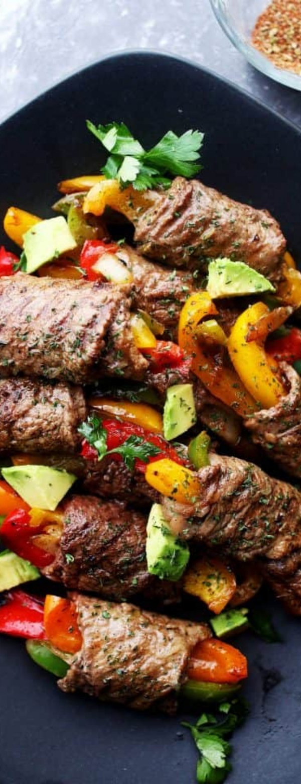 Steak Fajita Roll-Ups #STEAK #KETORECIPES