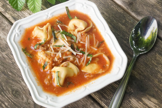 One Pot Tomato Soup with Tortellini and Italian Sausage