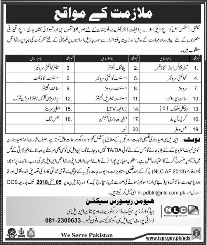 National Logistics Cell (NLC) Jobs April 2018 for Project Directorate Balochitsan NLC|Shakirjobs.Com