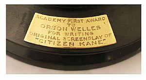 Placa del Oscar de Orson Welles por Ciudadano Kane