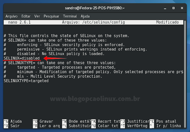 "Opção do SELinux alterada para ""disabled"""