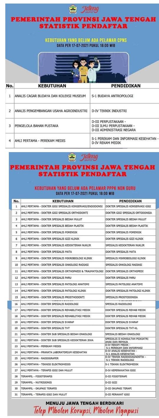 Daftar Formasi CPNS dan PPPK Non guru Provinsi Jawa Tengah yang Belum ada Pelamar CPNS
