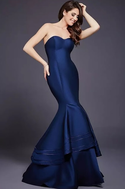 vestido de festa sereia azul marinho