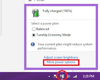 Klik biasa icon baterai > more power option