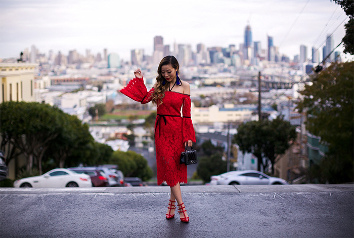 alexis odette dress, alexis red off shoulder lace dress, baublebar earring, chanel boy bag, valentino rock studs, san francisco street style, san francisco fashion blog, birthday dress, valentines day dress