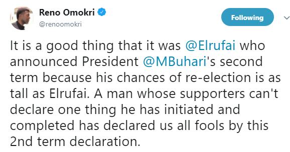 Reno Omokri shades President Buhari over re-election declaration.