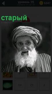 На картинке портрет пожилого старого мужчины с седой бородой в национальной одежде и головной убор