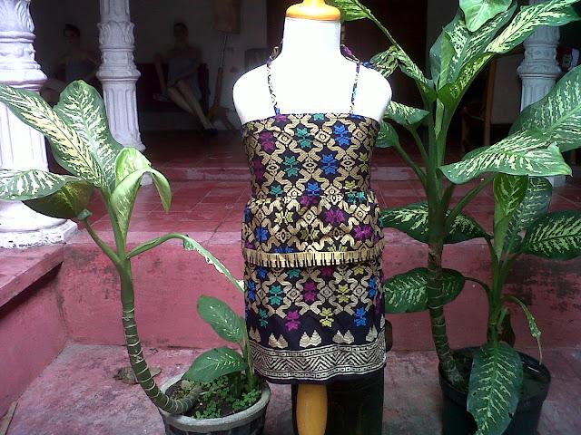 Dress Batik Anak Motif Bali Prada Hitam