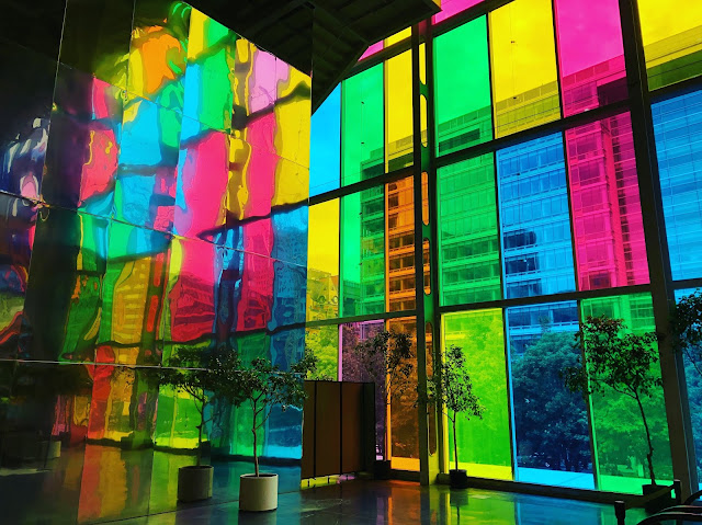 Multi colored glass in Montreal Canada
