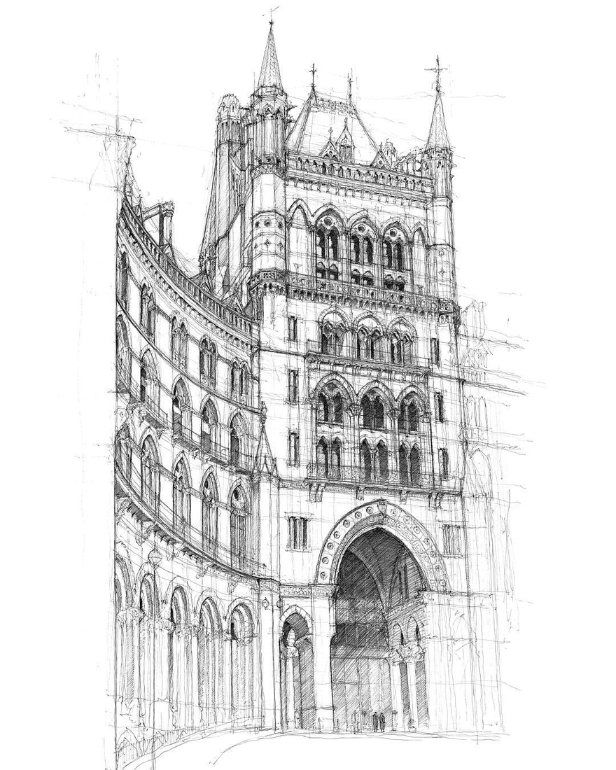 03-St-Pancras-International-Train-Station-London-Luke-Adam-Hawker-Architectural-Illustration-of-Imposing-Buildings-www-designstack-co