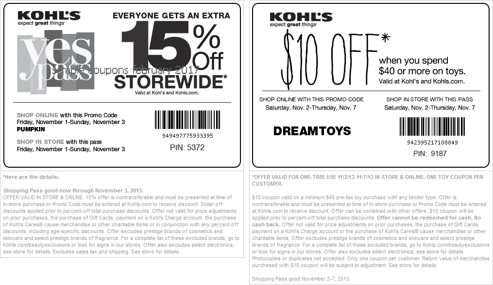 Kohls coupon code november 2018
