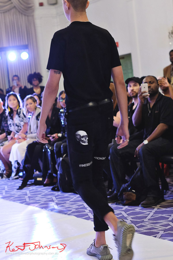 Skull pants black tee, Streetwear Label Finesse UK at Bracé NYFW. Photographed by Kent Johnson.