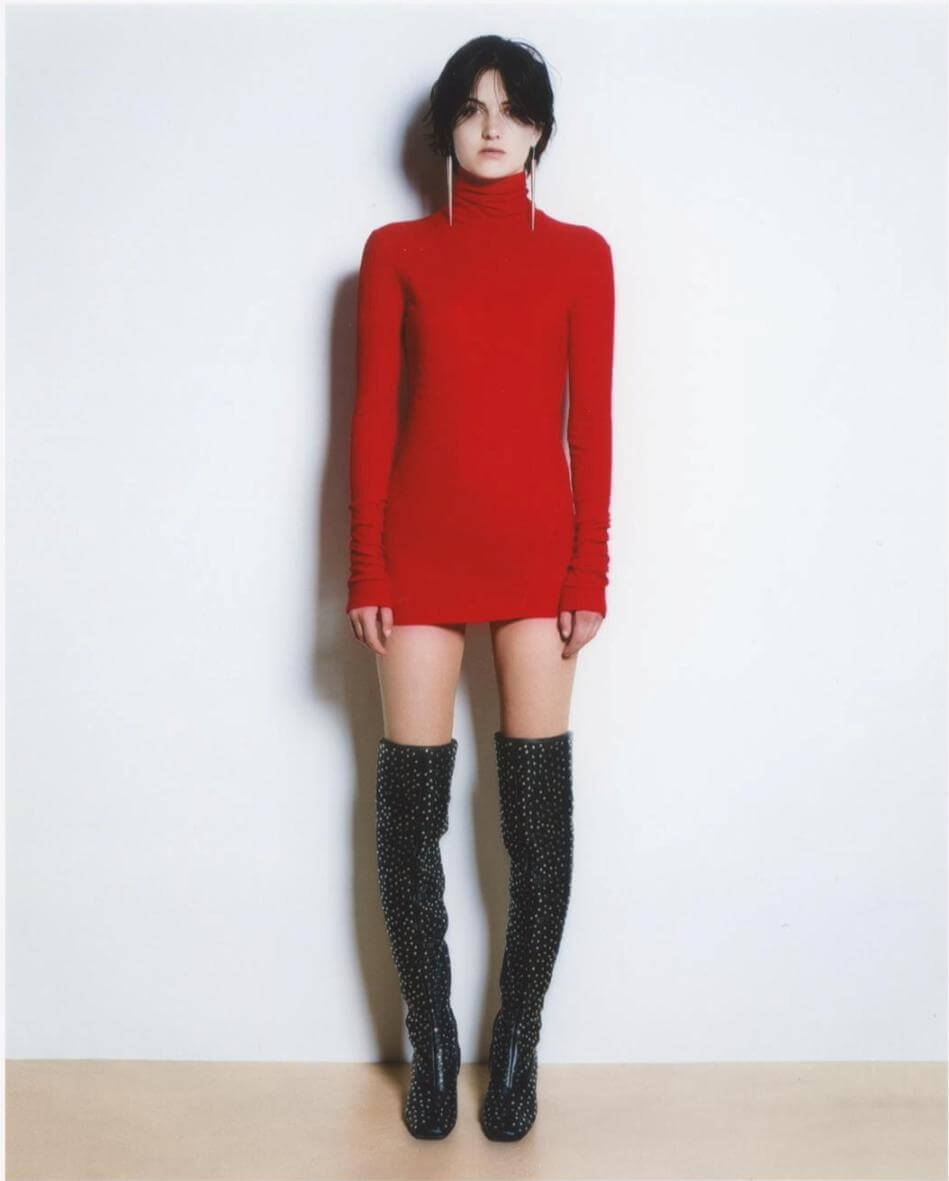 Red roll neck top for women