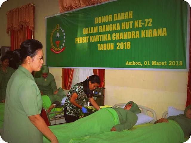 Kodam Pattimura Sambut HUT Persit ke 72 dengan Donor Darah