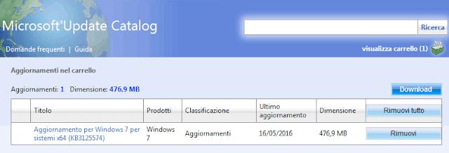 Microsoft Update Catalog scaricare aggiornamento cumulativo Windows 7