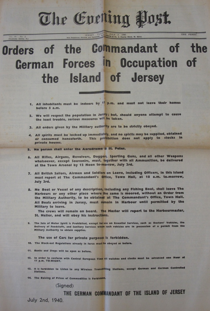 2 July 1940 worldwartwo.filminspector.com German Orders Channel Islands Jersey