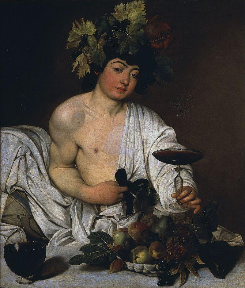 1. Jovem Baco (1596) - Segurando uma taça de vinho e acariciando um laço de veludo, é ao mesmo tempo sensual e insolente.
