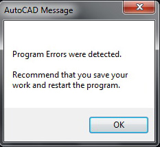 program errors were detected, recommend that you save your work