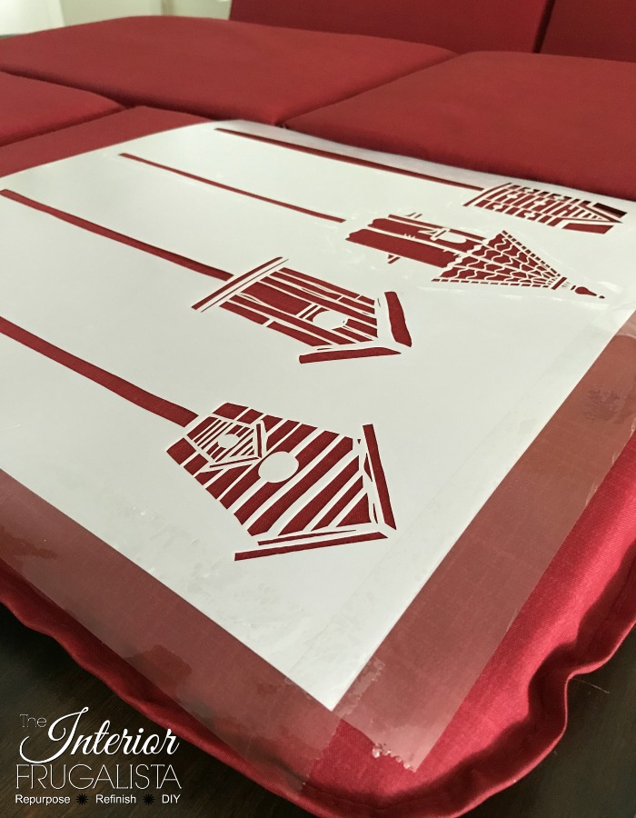 Outdoor Red Cushions Birdhouse Stencil