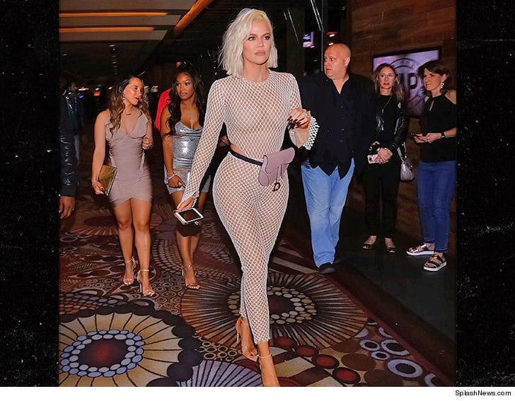 Khloe Kardashian bares curves in fishnet catsuit in Las Vegas