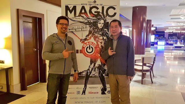 At the Grimaldi Forum in Monaco: Shenmue III co-producer Cédric Biscay with creator Yu Suzuki.