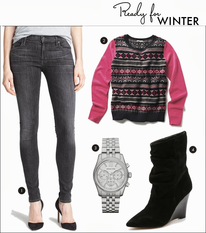 fair isle sweater, slouchy boots, joe's jeans, wedge booties, nordstrom, shopbop, piperlime, citizens of humanity, michael kors watch, cashmere sweaters, skinny jeans
