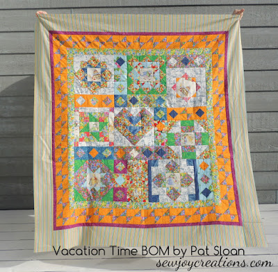 vacation time quilt top outside