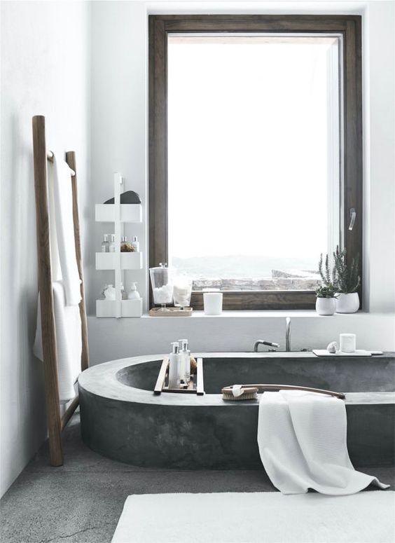 escalera decorativa palos, bañera exenta, baño nordico, estilo nordico, decoracion nordica, decorar el baño, alquimia deco