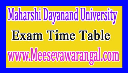 Maharshi Dayanand University M.Ed (Special Education) 1st Sem Dec 2016 Exam Time Table