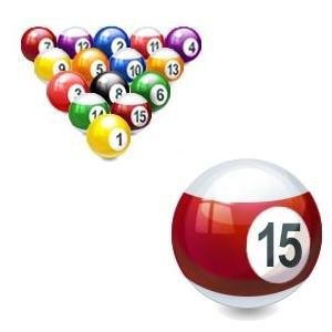 boules de billard avec boule numéro 15 mise en avant (dessin)