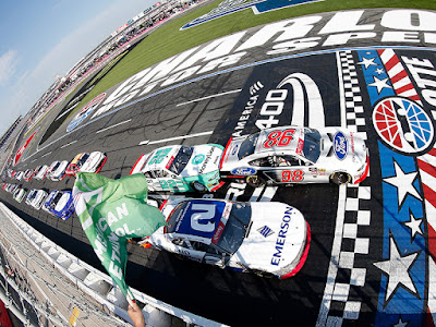 Chase Briscoe and Tyler Reddick lead the field to the green flag in the NASCAR Xfinity Series Drive for the Cure 250 presented by Blue Cross Blue Shield of North Carolina at Charlotte Motor Speedway.