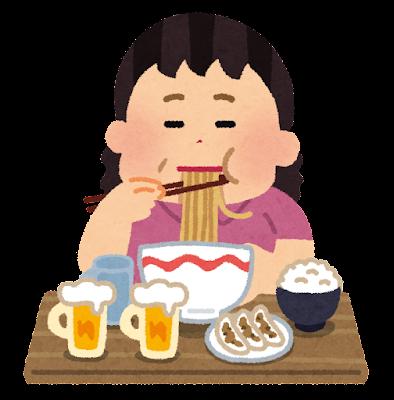 食べ過ぎの人のイラスト(女性)