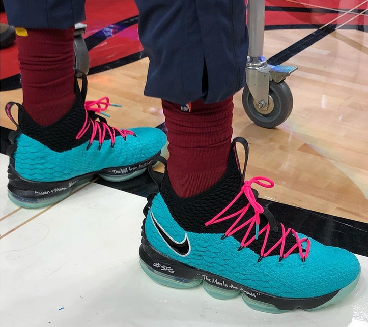 "6db8220274a LeBron James Hits the Court in Miami Debuting the Nike LeBron 15 ""South  Beach"""