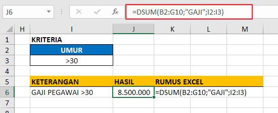 Contoh Fungsi DSUM Excel