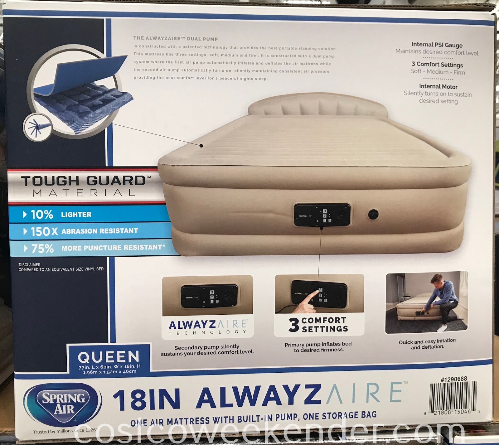 Ensure overnight guests sleep well with the Spring Air Queen AlwaysAire Airbed