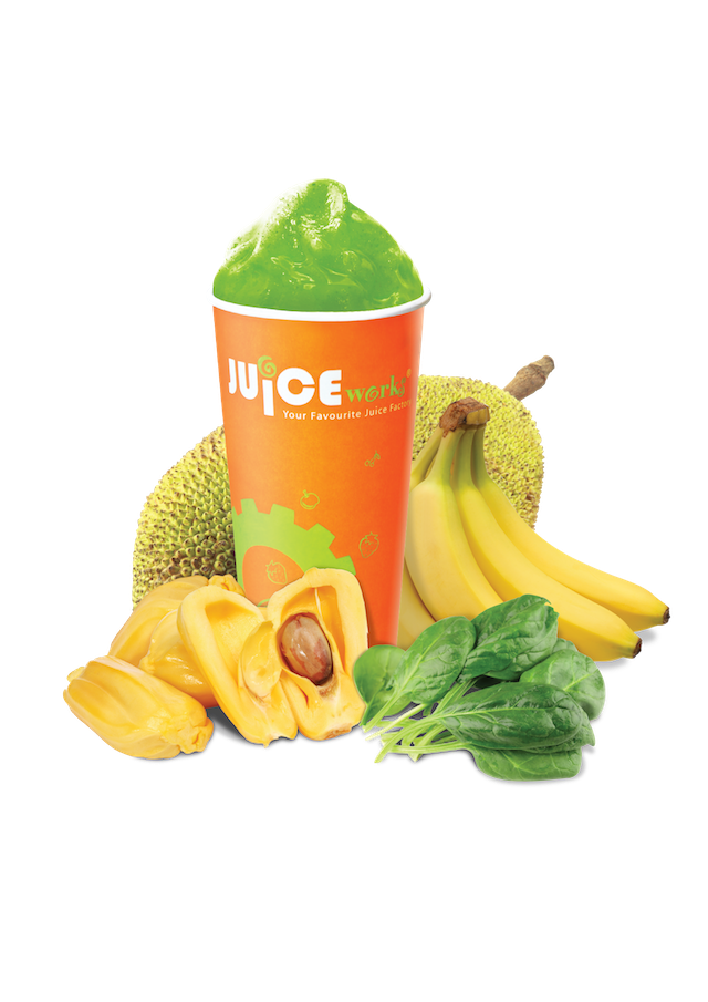 Tropical Hulk – a blend with Spinach, Mango, Banana, Jackfruit, Tropical Juice and Mango Yoghurt