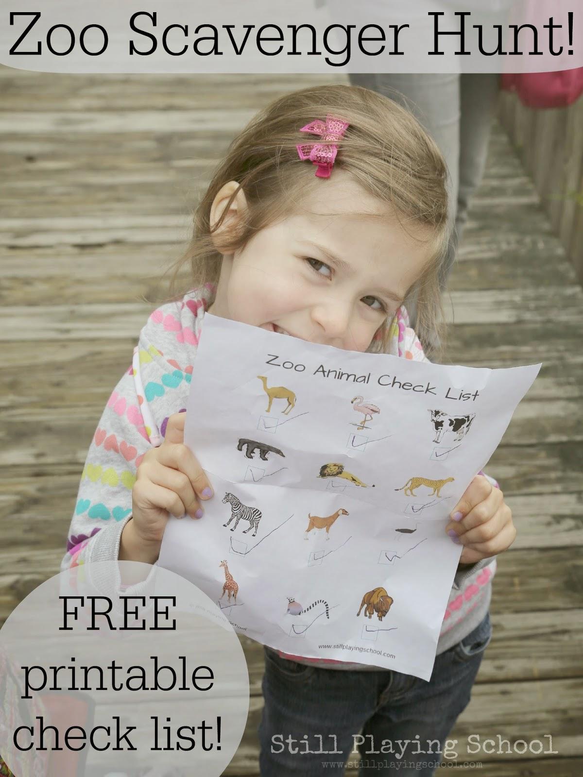 Zoo Animal Check List For Kids