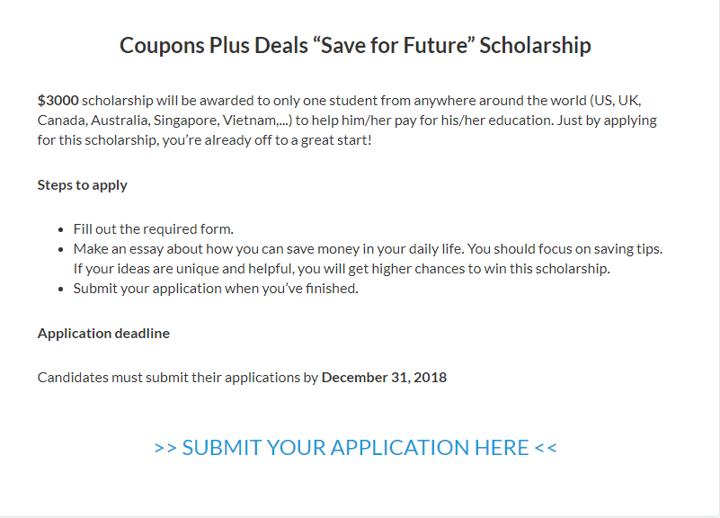 International Undergraduate, Graduate and Doctoral coupen plus deals Scholarship in US