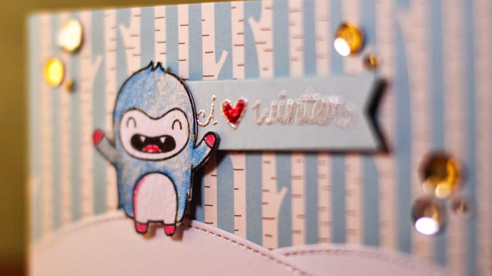 yeti loves winter - holiday card series - winter scnene