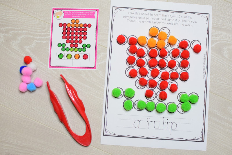 SPRING THEMED POMPOM OR DOT STICKER ACTIVITIES