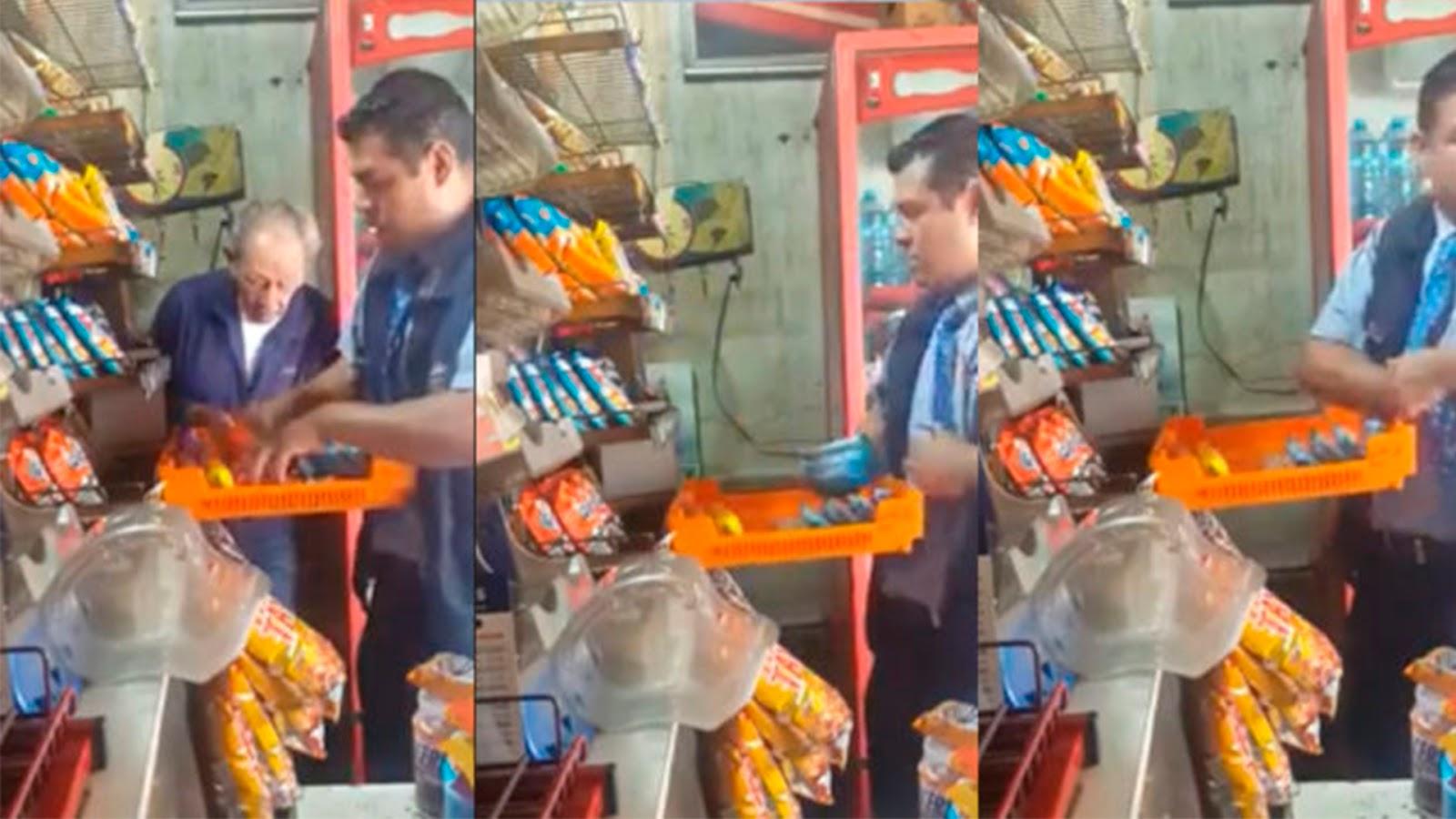 Graban a repartidor de Bimbo robando productos de una tienda en CDMX (VIDEO).