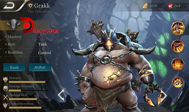 Arena of Valor : Hero Grakk ( The Devourer ) Tanker Builds Set up Gear
