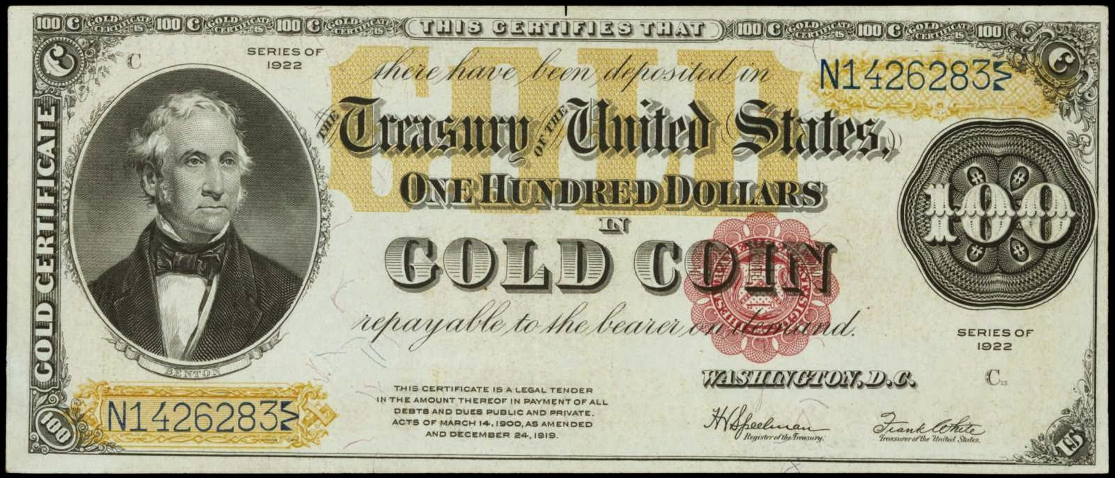 United States paper money One Hundred Dollar Gold Certificate Thomas Hart Benton