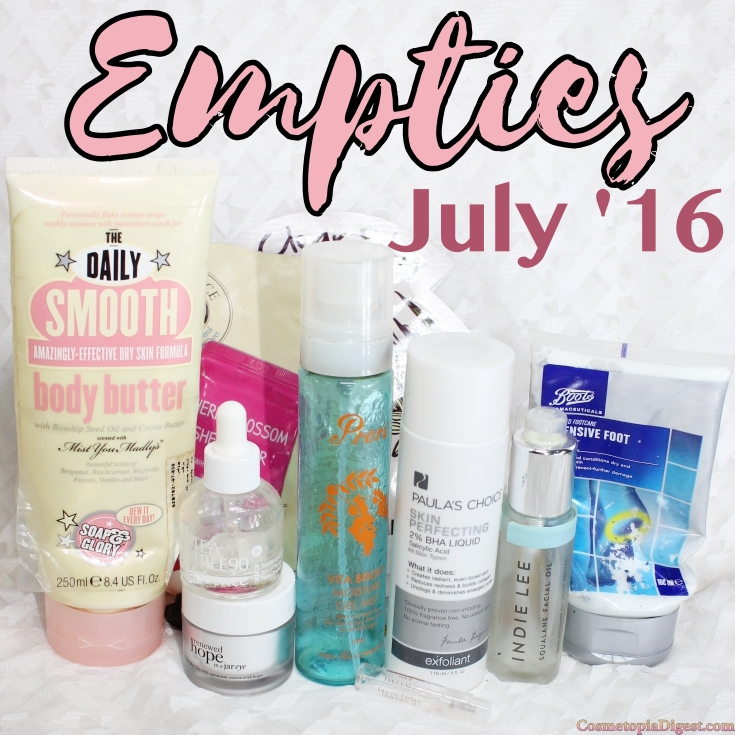 Beauty and skincare products emptied in July 2016, and quick thoughts on each.