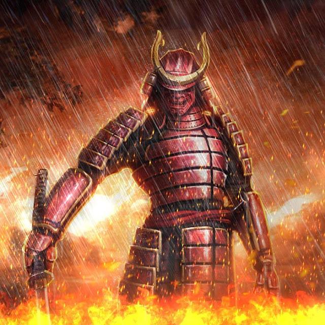 Samurai on Fire Wallpaper Engine