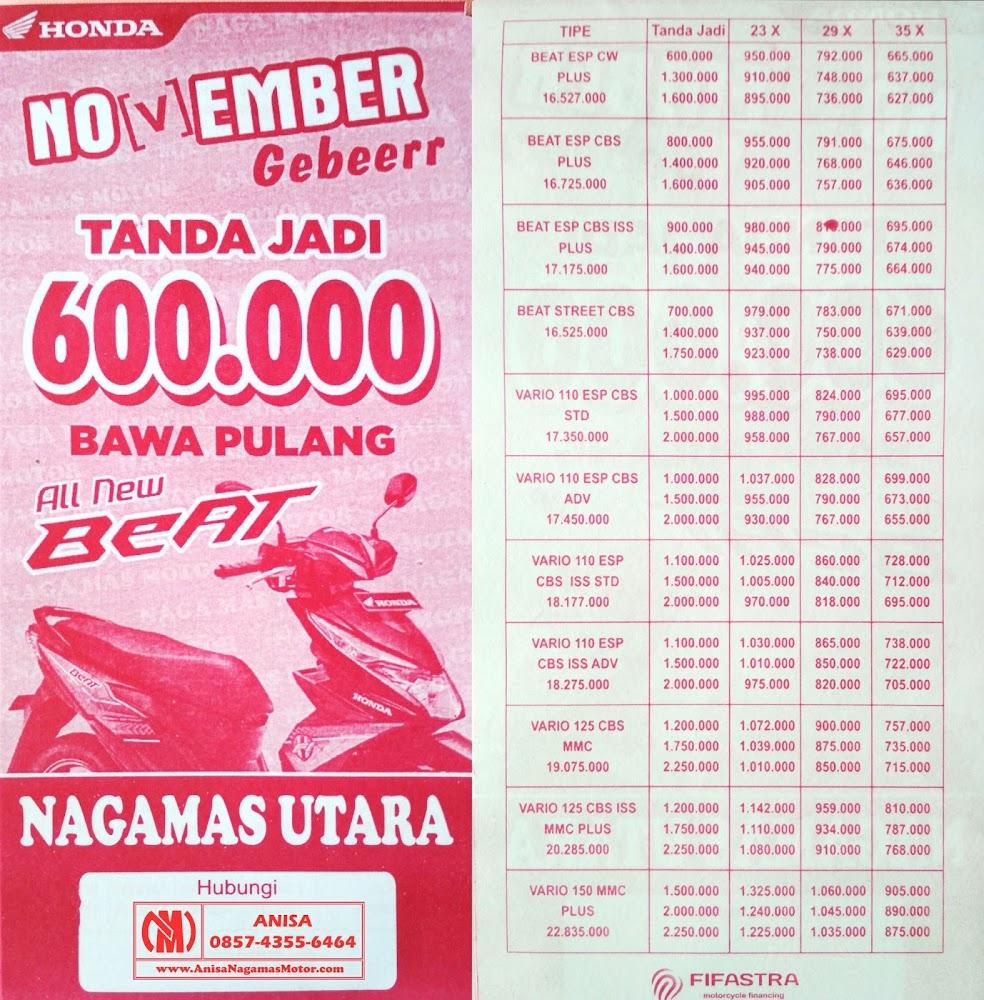 Promo Terbaru Sepeda Motor Honda Nagamas Motor Klaten update terbaru bulan ini. Brosur Kredit Vario, Beat, Scoopy, Spacy, PCX, Supra X, Blade, Revo, CBR, CB150R, Sonic, Verza. Klaten Boyolali Wonogiri Karanganyar Sragen Sukoharjo Jogja Jawa Tengah.