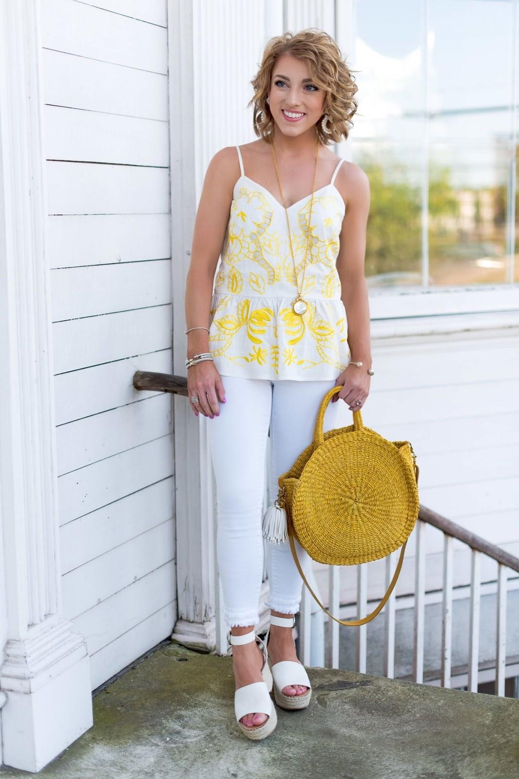 Yellow Details Cutwork Cami (Under $60) + Clare V. Alice Bag - Something Delightful Blog