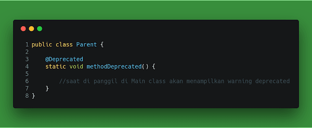 Contoh Annotations  Deprecated java